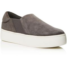 Vince Warren Suede Platform Slip On Sneakers ($240) ❤ liked on Polyvore featuring shoes, sneakers, steel, vince shoes, slip-on shoes, suede slip on shoes, suede sneakers and suede shoes