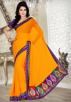 Dark Yellow Faux Chiffon Saree with Blouse Online Shopping: SSX4325