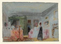 Joseph Mallord William Turner, 'A Bedroom: A Lady in Dressed in Black Standing in a Room with a Green-Curtained Bed - a Figure in the Doorway' 1827