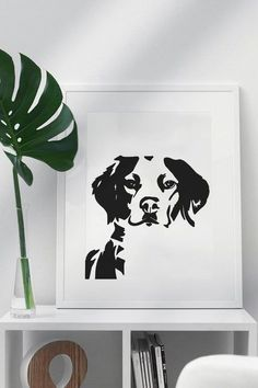 Brittany Spaniel Dog Wall Art - Personalized Physical Art Print featuring Brittany dog in a strikingly simple, black and white design. Get yours on Etsy personalized with the name of your own dog.