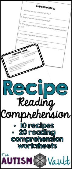 Pratice functional literacy with your special education students.  Recipe reading comprehension comes with 10 recipes and 20 reading comprehension worksheets.  Great for teaching functional academics and real world life skills.