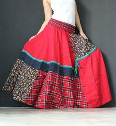 Circle Maxi Skirt Cotton Hippie Red Women Long Skirt / Wide Flowing Full Patch Work Costume Skirt on Etsy, $43.40 AUD