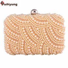 2016 New Women Clutch Fashion Pearl Handbag Exquisite Beaded Party Evening Bag  Chain Shoulder Messenger Bag Free Shipping