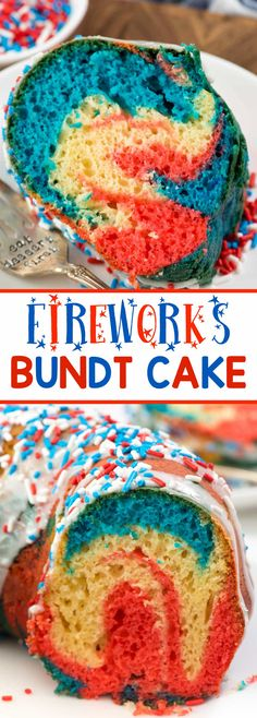 Fireworks Bundt Cake - this easy bundt cake recipe starts with a cake mix. Doctor it up to make a soft and delicious bundt cake that is accidentally dairy free. Tie dye it for the 4th of July!