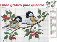 Two birds on a branch cross stitch pattern