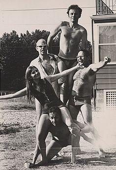 Claes Oldenburg, Lucas Samaras, George Segal, Patty Mucha, and Robert Rauschenberg at Robert Scull's East Hampton residence, ca. 1968. Oldenberg is on the left wearing sunglasses and Rauschenberg is on the bottom.