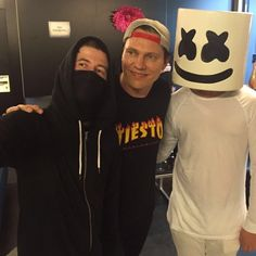 Alan with Tiësto and Marshmallow at Tomorrowland.