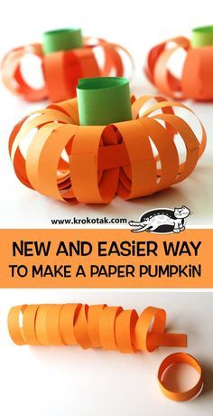 New and easier way to make a paper pumpkin (krokotak) - - Watch video: How to make: see more:. Halloween Crafts For Toddlers, Thanksgiving Crafts For Kids, Toddler Crafts, Pumpkin Crafts Kids, Harvest Crafts, Preschool Art Projects, Preschool Crafts, Pumpkin Art, Paper Pumpkin