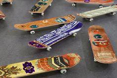 Skateboards With Prayer Rugs By Mounir Fatmi
