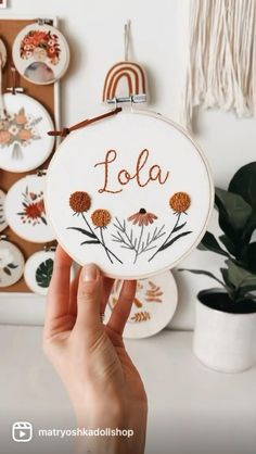 Name Embroidery, Hand Embroidery Videos, Embroidery Stitches Tutorial, Embroidery Flowers Pattern, Embroidery Hoop Art, Hand Embroidery Designs, Creative Embroidery, Simple Embroidery, Girl Nursery