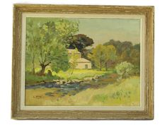 A charming French oil painting dating to the 1940s and painted by the artist L. Brun. The large country landscape has been painted on stretched canvas and framed with a rustic wooden frame.  The painting portrays a provencal farmhouse in early summer and features a palette of soft tones with an emphasis on green. The back of the wooden frame has a hand written dedication by the artist to her neice and nephew.  DIMENSIONS: Including frame: 31 wide x 25 high. (78cm x 64cm). Canvas: 26 wide x…