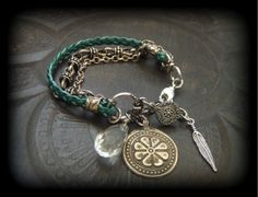 Leather and Kuchi Charm Beaded Bracelet by YuccaBloom on Etsy, $46.00