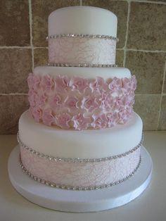 Diamante and blossom wedding cake