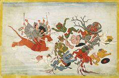 An illustration to the Markandeya Purana: Durga astride her tiger attacking the Asuras, Guler, circa 1780 | Lot | Sotheby's