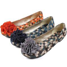 Orange Navy Blue Gray Mosaic Corsage Flat Shoes Women Korean Fashion Kpop Style