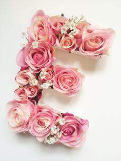 Pink Floral Flower Filled Letter by LittleDaisyChainAU on Etsy #nurserydecor #gardenletter #homedecor #flowerletter #pinkroseletter