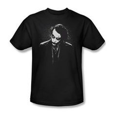 "Dark Knight Trilogy - Men's T-shirt Dark Joker: Based on the blockbuster ""Batman"" triology starring Christian Bale as Batman, and featuring Heath Ledger in possibly the best performance of The Joker ever filmed Joker T Shirt, Batman T Shirt, Branded T Shirts, Printed Shirts, Batman The Dark Knight, Batman Dark, Cool Shirts, Tee Shirts, Black And White Design"