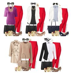 Plus Size Red Pants Work Outfits - Part 2 - Alexa Webb By request: more plus size red pants work outfits! I posted about these red pants back in June with a cute red, white, and blue outfit. Red Pants Outfit, Outfit Ideas, Outfit Work, Red Pants Fashion, Plus Size Work, Looks Plus Size, Winter Outfits For Work, Work Outfits, Plus Sized Outfits