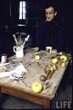 Balthus in his studio in the Chateau de Chassy.