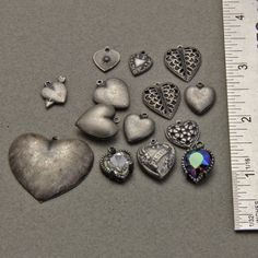 14 Vintage Metal Heart Charms Pendants by oscarcrow on Etsy