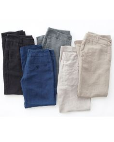 Straight Leg Linen Trousers