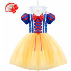 3 PCS Baby Girl Cosplay Party Dress Children Snow White Costume Children Infant Fancy Halloween princess costumes for girls #Affiliate