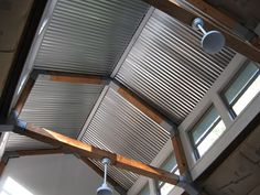 Corrugated Metal Cabin Ceilings | particularly like how this steel roofing is integrated with wooden ...
