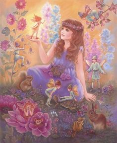 FAIRIES IN MY GARDEN PAINTING by Judy Mastrangelo SciFi and Fantasy Art