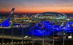 Sochi opening ceremony: 2014 Winter Olympics in pictures - The Olympic park is lit up as the Sochi 2014 opening ceremony begins