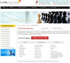 C-Level Executives is a premier Chief Compliance Officer E-mail Address's provider dedicated in generating quality leads and sales for small, mid small and large companies. http://www.clevelexecuitves.com/cco-email-addresses.php