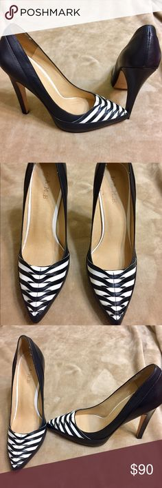 Women's L.A.M.B Black Pumps Size 10 Pre-Owned Women's Black L.A.M.B. Pumps with white accents.   • Size 10 • Leather • Great condition  • 5 1/2 inch heel • Retail over $200 L.A.M.B. Shoes Heels