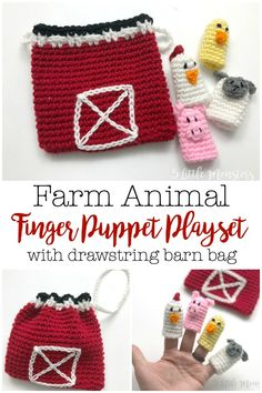 Farm Animal Finger Puppet Playset Crochet a cute little set of farm animal finger puppets along with a drawstring bag that looks like a barn to keep them in. This free crochet pattern is. Crochet Animal Amigurumi, Crochet Baby Toys, Crochet Toys Patterns, Crochet Gifts, Cute Crochet, Stuffed Toys Patterns, Crochet Animals, Crochet For Kids, Crochet Dolls
