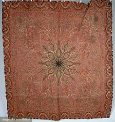 "HANDMADE WOOL KASHMIRI SHAWL, MID 19th C   Hand woven & pieced w/ small black starburst center, intricate overall pattern in red, blues, cream, gold & black, 5.5"" embroidred paisley border, 77"" X 78"", (few small holes) otherwise excellent."