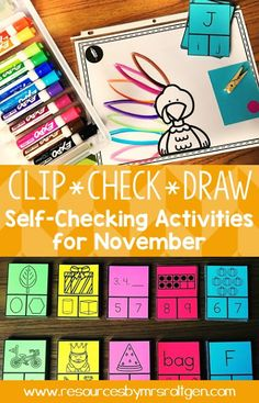 Clip, Check, Draw: Self-Checking Activities for November | Use this pack of 10 sets of clip-and-check cards to work on various skills wit your Kindergarten students all November. Topics include 2D and 3D shapes, missing numbers, counting ten frames, counting fall objects, first sound isolation, rhyming, syllables, short A CVC words, and letter matching. Great for independent learning, early or fast finishers, small group work, partners, & more! (Kindy, kinder, autumn, turkey)