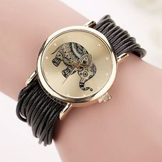New Women Leather Bracelet Watches Fashion Casual Elephant Wrist Watches Relojes Mujer Relogio Feminino Clock BW1687