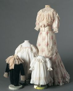 Flowered dress, American, ca. 1905. Cotton mull, lace, silk satin ribbon. Child's dresses ca. 1905; boy's Little Lord Fauntleroy suit ca. 1900.