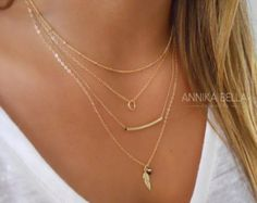 Boho Chic Layered Necklace Layered Gold Necklace by annikabella