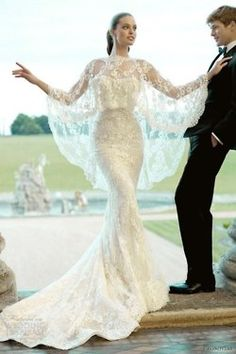 unique wedding dress..I know, but there's something Morticia about it