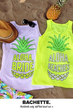 These adorable neon bachelorette shirts are perfect to get your party started! Spending your bachelorette party at the beach? A girls weekend in Palm Springs? We've got you covered. These tanks are super soft with just a touch of stretch for the perfect fit, and are extra-long, so your whole party will be happy! These are not digitally printed, they are individually screened and will last you years after the bachelorette hangover is over. Beach Bachelorette, Bachelorette Party Themes, Bachelorette Shirts, Bride Tank Tops, Aloha Beaches, Party Tops, Girls Weekend, Maid Of Honor, Palm Springs