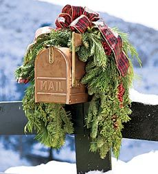 Festive, fragrant real holiday greenery is a great way to trim the mailbox (because postal workers deserve extra love during the holiday rush)!