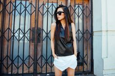 Neon Blush, Jenny Ong, Vince leather shell top, Zara asymmetrical skort, Isabel Marant sneaker wedge, StyleStalker chambray shirt, Celine Audrey sunglasses, Proenza Schouler PS11