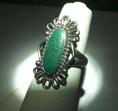 Vintage Green Turquoise Silver Cocktail Ring by BohoBeachArtistry, $22.95