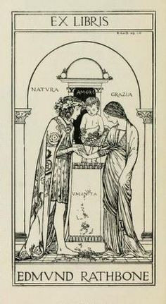 Bookplate of Edmund Rathbone depicting Nature, Love, Grace and, a little less clearly, Humanity. The design looks like it was influenced by Tarot cards.