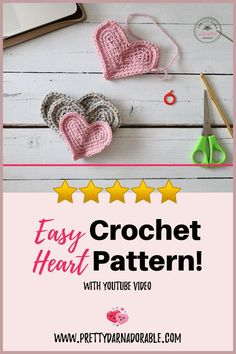 This is the perfect crochet heart pattern for beginners. Free crochet pattern includes step-by-step photo tutorial as well as a video tutorial. Everyone will have success with this crochet heart pattern! Make three different sized crochet hearts to use on crochet, knit, paper or clothing projects. Click through for free crochet pattern and video tutorial!