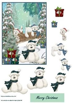 Look who is peeping from the tree on Craftsuprint designed by Angela Wake - A cute card front with the teddies waiting to open their pressies, and step by step with a merry Christmas sentiment tag - Now available for download!
