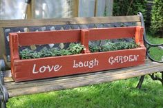Planter box made from old pallet -- super easy and super cute, great for herbs on a deck or windowsill planter