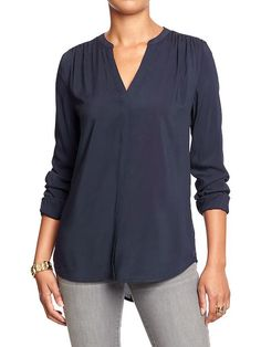 Women's Split-Neck Covered-Placket Blouses Product Image