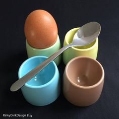Your place to buy and sell all things handmade Blue Cups, Egg Cups, 1960s, Easter, Breakfast, Morning Coffee