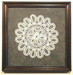 antique lace doily framed