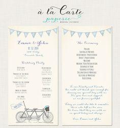 Tandem Bike Wedding Ceremony Card - Wedding Program